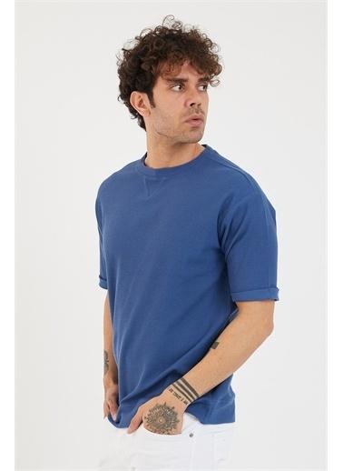 XHAN Hardal Petek Örgü Waffle Kumaş Oversize T-Shirt 1Yxe1-44876-37 Mavi